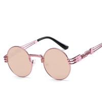 yuvarlak steampunk güneş gözlüğü gözlükleri toptan satış-Yuvarlak Steampunk Güneş Erkekler Kadınlar Metal framen Moda Gözlük Marka Tasarımcısı Retro Vintage Güneş gözlükleri uv400 Gözlük óculos de sol