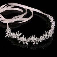 Wholesale Wedding Comb Hair Chains - Hot Ladies Silver Crystal Bridal Wedding Tiara Flower Pearls Crystal Chain Headband Hair Clip Comb Jewelry