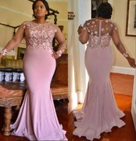 Wholesale spandex beaded evening gowns - Plus Size Mermaid Lace Arabic 2017 Bridesmaid Dresses Long Sleeves Beaded Maid Of Honor Dress Spandex Evening Prom Gowns