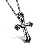 South American orchid pendant necklace - Fashion accessories Stainless Steel contracted cross men s Pendant Necklaces With an orchid chain