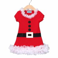 Wholesale Girls Christmas Dress Suits - Xmas Decor Baby Girls Dress Toddler Christmas Dress Outfit Party Clothes Bowknot Dress Clothing Suits Christmas Gift For Kids