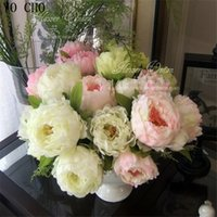 7 flower heads 10 pcs lothot sell large silk peony artificial flowers for wedding decoration