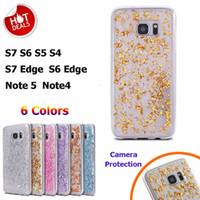 caso ouro s5 venda por atacado-3D Luxo de ouro Bling Glitter foil Case para Samsung S7 S6 Edge S5 S4 Nota 5/4 Tampa traseira Ultra Clear Soft TPU Silicone Phone Bag