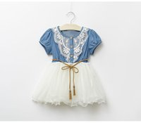 Wholesale Cute Jean Dresses - Baby Dress 2016 summer leisure style children girls flower jean dress baby girls cute Lace denim dress kid fashion dress outfits