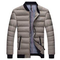 Wholesale Mens Winter Parkas - Wholesale- Men's Winter Jackets Bomber Solid Mens Warm Jackets and Coats Wadded Fashion Men Duck Down Parka Pocket Plus Size 4XL,MT256