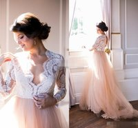 Wholesale Sexy Western Tops - Summer 2016 Long Sleeves Wedding Dresses Lace Top Blush Chapel Train Tulle Open Back Bohemia Western Wedding Bridal Gowns Plus Size Cheap