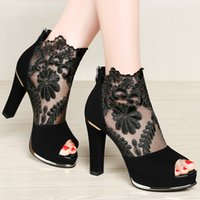 Wholesale Top Ladies Heel Shoe - Hot Sale Womens' Court Shoes Top Fashion Ladies High Heels Dress Shoes Sexy Lace Mesh Hollow Peep Toe with Imported Material Free Shipping