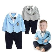 Wholesale Rompers Gentleman Modelling Baby - Spring Baby romper Boys gentleman long sleeve rompers kids relaxation Modelling climb clothes children jumpsuits with bow tie E419