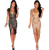 Wholesale Golden Sexy Club Dresses - Best Sellers Go Deep V Lead Golden Paillette Package Buttocks In Longuette Dress European Suit-dress Supply Of Goods Striped zy100862 store