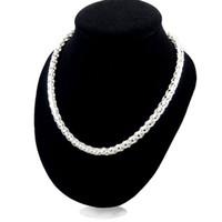 1b7653e3689c Cadena de collar trenzado de Singapur TO botón de cadena gruesa 30% 925  joyería de plata esterlina para las mujeres y los hombres collar de 20  pulgadas de ...