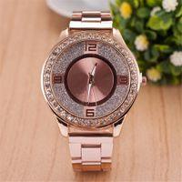 Wholesale Diamond Girls - Women Dress Watch Steel Quartz Watch Inner Matte Stainless Steel Diamond Watch Relogio Feminino Luxury Brand Clock Girl Gift