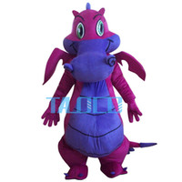Wholesale Fancy Dress Dragon - Big Purple Dragon Mascot Costume Fancy Dress Outfit Dress Shipping Adult Size