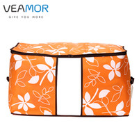 Wholesale Window Quilts - Wholesale- VEAMOR Flowers Printed Non-woven Quilts Storage Boxes for home Organization Plus Size Finishing Storage Boxes with Windows Bags