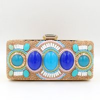 Wholesale Clutch Big Diamonds - hot sale Handmade Evening Clutch Purse Crystal Chain Fashion luxury lady Designer rhinestone glittering big stone beaded Evening Bag