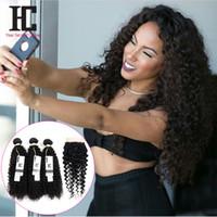 32 inç sapık kıvırcık saç toptan satış-7a Sınıf Perulu Kıvırcık Saç Kapatma Ile 4 Saç Demetleri Ile Dantel Kapaklar Perulu Bakire Saç Afro Kinky Kıvırcık Kapatma Ile