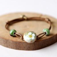 Wholesale Porcelain Beads Flowers - Handmade Woven Ceramic Beads Bracelet Cute Flower Design Boho Style Charm Bracelets for Women Girl Wholesale