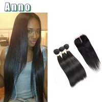 Wholesale Hair Products Girls - Anno Products Brazilian Straight Virgin Hair With Closure 3bundles Black Girl Dream Hair Human Hair Extensions With Closure