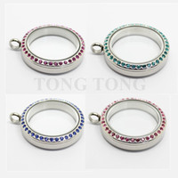 Wholesale Stainless Steel Memory Lockets - 20mm 25mm 30mm Twisted-off 316L Stainless Steel Czech Crystals Floating Memory Locket Living Charm Locket Photo Locket (locket only)