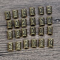 Wholesale Antique Hair Bracelet - 24 Viking Runes beads for Beards or Hair Jewelry Making Antique Beads Metal Charms for Bracelets for DIY Pendant Necklace