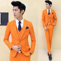 Wholesale Men Red Dress Vest - Wholesale-( suit +vest+pants)2016 premium brand the groom's wedding dress Men's wedding suits  Male premium brand pure color