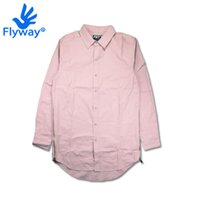 Wholesale Shirt Camicie - Wholesale-Pink Shirts Men Extended Elongated Oversized Hip Hop SWAG Jordan Tyga Last Kings Shirt Felpa Camicie Uomo Chemise Homme