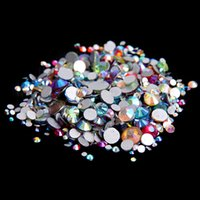 Wholesale Diamonds Flatback - Mixed AB Colors ss3-ss10 Non Hotfix Crystal Rhinestones For Nails Art Decoration Flatback Glue On Strass Diamonds DIY Crafts Decorations