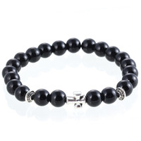 2016 New Arrival Mens Women Beaded Jewelry 8mm Buddha Beads Matte Black Mala Gallstone Cross Bracelets Party Gift Yoga Jewelry