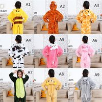 Wholesale Boy Wear Nightgown - Kids Nightgown Girls & Boys Pajamas Baby Suit Leisure Wear Cartoon Animal Children's Jumpsuits Flannel Fabric Fast Shipping