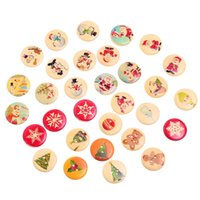 Wholesale 50PCs Random Mixed Wood Round Sewing Buttons X mas Pattern Scrapbooking cm