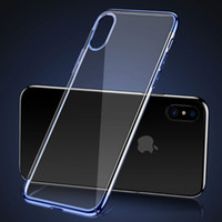 Para Baseus iphone X Case Ultra fino claro Hard PC Plating Back Cover Phone Cases para iphone X
