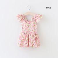Wholesale Korean Corsets - Girls Clothes 2016 New Fashion Girls Lace Floral Corset Jumpsuit Backless Halter Bra Straps Korean Suspender Thouser MK-526