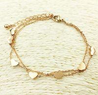 Wholesale Seven Days Bracelet Gold - 316L stainless steel seven heart charms lady bracelet or anklet silver rose gold gold bracelet or foot chain