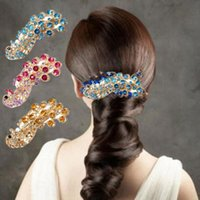 Wholesale Red Band Clips - 1 PCS Women Ladies Bridal Peacock Full Crystal Hairpin Rhinestones Barrette Hair Clip Retro Decoration Hair Band Accessories