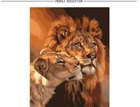 Wholesale Diy Painting Numbers Kits - Frameless The Lion Animal DIY Painting By Numbers Kits Coloring Oil Painting On Canvas Drawing Home Artwork Wall Art Picture