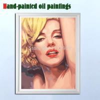 imagens de marilyn wall venda por atacado-Pintados à mão sexy Marilyn Monroe pintura a óleo sobre tela arte da parede pictures para Sala de estar cuadros decoracion