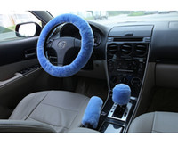 Wholesale One Piece Furs - Blue Red wool steering wheel cover handcar cover short-haired steering wheel cover fur one piece winter slams + handbrake level 3pcs