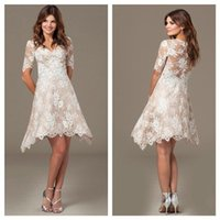 Wholesale New Beautiful Shirts - Beautiful Short Sleeve Appliques Cocktail Dresses 2017 New Arrival Lace Zipper Knee-Length Homecoming Dress Party Gowns