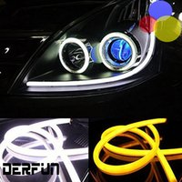 Wholesale 45cm Led Strips - 2Pcs Lot Car led Parts fog lights 60cm 45cm 80cm 12W daytime running lights DRL Decorative External Flexible Headlight Lamp Switchback Strip