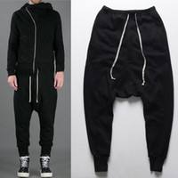 Wholesale Drop Crotch Joggers - Fashion Drop Low Crotch Pants Joggers Rick Harem Pants Hip Hop Man Swag Clothes Black Kanye West Black Men Owens Clothing Styles