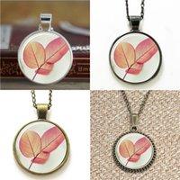 deixa marcador venda por atacado-10 pcs Pink Leaf Nature Art Pingente de Colar chaveiro marcador bracelete brinco