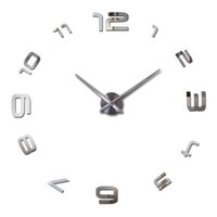 Wholesale eva diy sticker - Wholesale- 2016 fashion wall clock acrylic Eva mirror diy clocks original wall clock quartz 3d europe design wall stickers free shipping