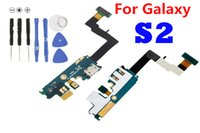 Wholesale Galaxy S2 Charger Flex - 10PCS Lot For Samsung Galaxy S2 II i9100 i9105 Charger Charging Port Usb Connector dock Microphone flex Cable Ribbon Replacement Parts