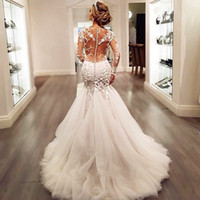 Wholesale See Through Wedding Dress Designer - Designer Illusion Bodice Mermaid Wedding Dresses 2016 Long Sleeves See Through Back Beaded Sequined Plus Size Arabic African Bridal Gowns
