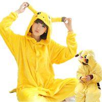 Wholesale Pikachu Costume Suit - Pikachu Kigurumi Pajamas Animal Suits Cosplay Halloween Costume Adult and children Garment Cartoon Jumpsuits Unisex Animal Sleepwear