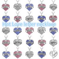 Wholesale Blue Diamond Solitaire Pendant - 20PCS Heart Diamond necklace family letters MOM daughter Faith Best Friend Necklaces pink white blue crystal pendants jewelry A0172