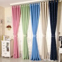 Wholesale Ornaments Decorate - Rural Style Window Curtains Children Ornament Bedroom 100*130CM Star Shape Irising Curtain For Home Living Room Decorate 22xs C