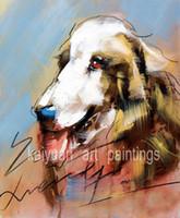 ingrosso dipinti oli-Migliore qualità dipinti ad olio animale dipinte a mano del fumetto cane arte vernici su tela per la decorazione della parete della casa 1pc supporto droppshipping