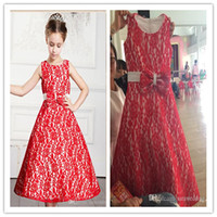 Wholesale Red Ribbon Costumes - Red Princess Jewel Neck Lace Embroidery Floor Length Stain Flower Girls' Dress 2015 Lovely Costumes For Girl