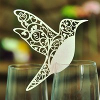 Wholesale Place Cards Birds - 50pcs DIY Place Card Flying Birds Cups Glass Wine Wedding Name Cards Laser Cut Pearlscent Paper Cards Birthday Party Decoration