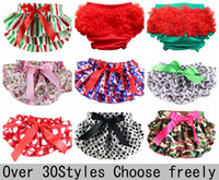 Wholesale Baby Bloomers Chevron - Cotton Ruffle Chevron Baby Bloomers Cute Baby Pants Underwear Infant Lace Ruffle Short Diaper Cover Toddler Infant Baby Bloomers 30colors